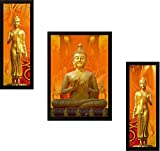#4: Incredible Buddha Modern Art Print UV Textured Framed Painting Set of 3 for Home Decoration (Wood, 35 cm x 2 cm x 50 cm, Special Blue Textured UV Reprint)