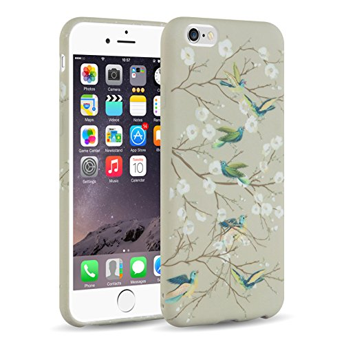 Cover iPhone 6, JAMMYLIZARD Custodia SAKURA in Silicone per iPhone 6 e 6s, UCCELLI E (6 Ricamo)