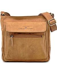 URBAN FOREST Unisex - Erwachsene, Messengerbags, Business-Bags, Aktentaschen, Handtaschen, Umhängetaschen, Naturleder, Leder 26x25x7,5cm (B x H x T)
