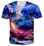 Idgretim Frauen Männer Universum Sternenhimmel 3D Gedruckt Sommer Casual Kurzarm T-Shirts