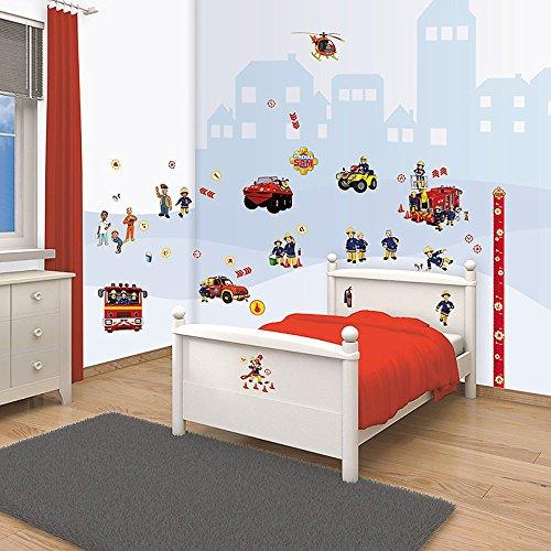 Preisvergleich Produktbild Feuerwehrmann Sam - Walltastic Wanddekoration - Wandsticker Tattoo 64 Teile