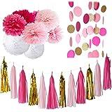 20pcs Fuchsia rose or blanc Party Kit Décoration avec papier de soie Tassel Garland tissus papier fleur cercle guirlande pour mariage rustique Baby Shower, fête d'anniversaire, décoration de pépinière