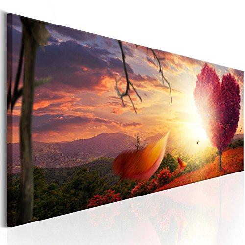 murando - Bilder 135x45 cm Vlies Leinwandbild 1 TLG Kunstdruck modern Wandbilder XXL Wanddekoration Design Wand Bild - Baum Herz Natur Landschaft c-C-0063-b-b -