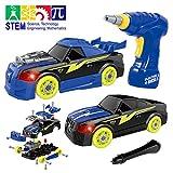 Maxxrace Montage Spielzeug Autos, Kinder DIY Gebäude Spielzeug,Elektrisches Rennwagen Set mit Lichtern und Musik und Drill-Sound,Steam Spielzeug Geschenke Gut für Kinder