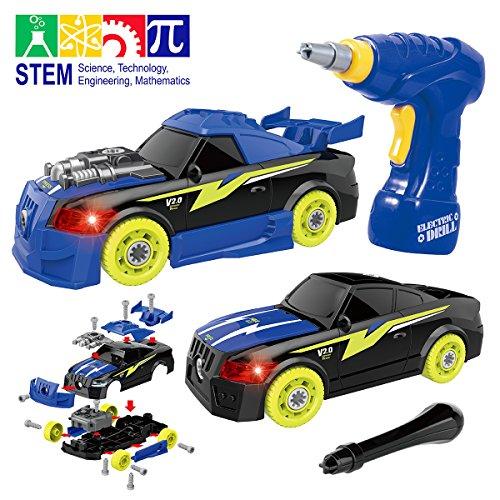 Autos Kinder Spielzeug (Maxxrace Montage Spielzeug Autos, Kinder DIY Gebäude Spielzeug,Elektrisches Rennwagen Set mit Lichtern und Musik und Drill-Sound,Steam Spielzeug Geschenke Gut für Kinder)