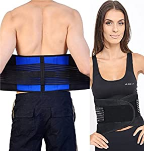 Adjustable Neoprene Double Pull Lumbar Back Support Lower Back Belt Brace - Back Pain / Slipped Disc Pain Relief - 5 Sizes (S, M, L, XL, XXL)
