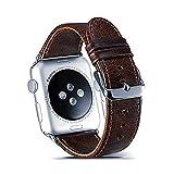 Qiy Kompatibles Rindsleder Echtlederarmband 38mm / 42mm für Apple Watch Strap-Armband für iWatch Serie 1/2/3 Universal, Hellbraun/Dunkelbraun,Darkbrown,38mm