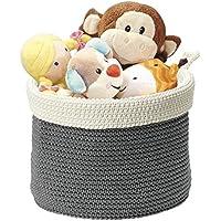 mDesign - Recipiente organizador tejido, para almacenamiento en armario del cuarto del bebé/la guardería; guarda peluches, juguetes, libros - chico - Gris/marfil