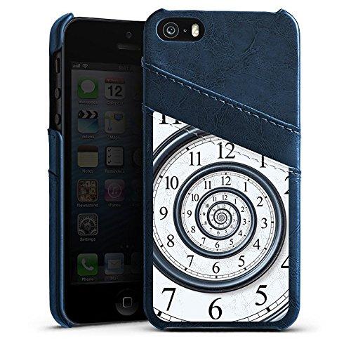 Apple iPhone 4 Housse Étui Silicone Coque Protection Temps Montre Vie Étui en cuir bleu marine