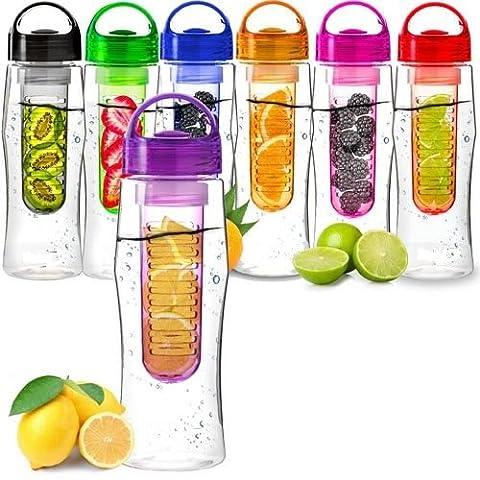Home Étagère bouteille d'eau Fruit fuzer Santé Drink Maker avec infuseur à fruit Infusion Aqua d'hydratation 7couleurs disponibles,