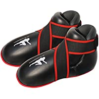 Botas de Kickboxing Negras Semi/Botas de Boxeo de Contacto Completo para Niños/Almohadillas de pie de Boxeo para Adultos (Pequeñas/Niños de 7 a 10 Años)