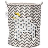 Sea Team Foldable Large Cylindric Cute Pony Canvas Fabric Storage Bin Storage Basket Organizer for Kid's Room Toy Storage, Laundry Hamper for Blouse T-shirt Underwear etc