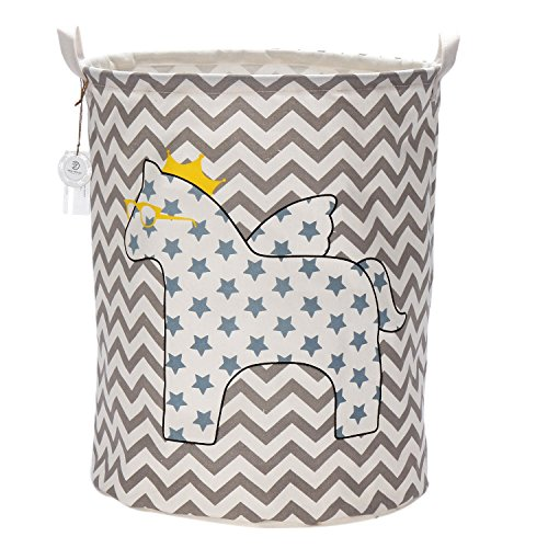 Sea Team Foldable Large Cylindric Cute Pony Canvas Fabric Storage Bin Storage Basket Organizer for Kid's Room Toy Storage, Laundry Hamper for Blouse T-shirt Underwear etc., Color#2 by Sea Team (Toy Storage Bin)
