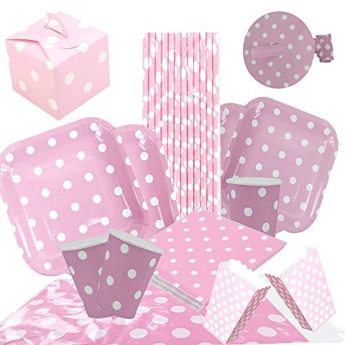 cotigo Set de Vajilla Desechables para Fiesta de Cumpleaños,Platos,Vasos,Servilletas, Mantel, Caja de palomita,Pajitas,Diseño Lunares,Color Rosa,para 16 Personas