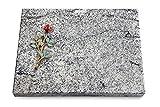Generic Grabtafel, Grabplatte, Grabstein, Grabkissen, Urnengrabstein, Liegegrabstein Modell Pure 40 x 30 x 3-4 cm Viskont-White-Granit, Poliert inkl. Gravur (Bronze-Color-Ornament Rose 7)