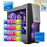 M&M Computer HighEnd PC Wasserkühlung RGB, Intel i5-8400 Sixcore, GTX1060 6GB Gaming Grafikkarte, 480GB SSD, 4 TB HDD, 16GB DDR4 RAM, Gigabyte RGB Mainboard, Windows 10 Home