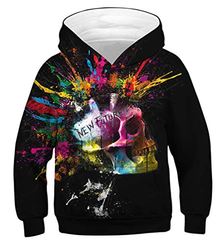 Idgreatim Little Boys Hoodies 3D Feuer Neuheit Sweatshirt Unisex Pullover Mit Kapuze Pullover Mädchen Tops XS