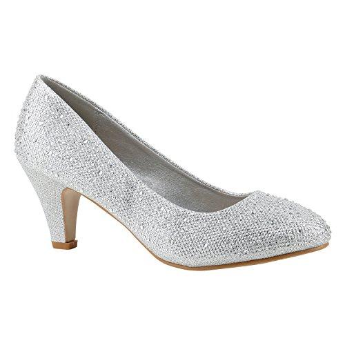 Klassische Damen Pumps Kitten Heels Leder-Optik Absatz Business Schuhe 144271 Silber Strass Berkley 41 Flandell