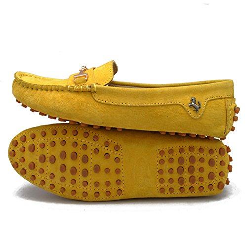 Minitoo yb960–15da donna comoda Slip-on scarpe in pelle scamosciata Mocassino Loafer Yellow