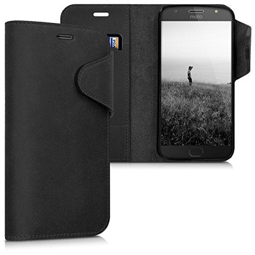 kalibri-Hlle-fr-Motorola-Moto-G5S-Plus-Echtleder-Wallet-Case-Schutzhlle-mit-Fach-und-Stnder-in-Schwarz