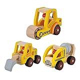Juguetes de juguete de construcción de niños de madera Juego de juguete de camiones de charco + Camión de rodillos de juguete + Camión de arrastre de juguete (3 Asistente de vagón de construcción) por KIDS TOYLAND