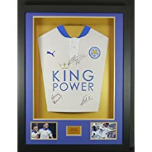 Vardy, Mahrez y Kante blanco diseño de Leicester City firmado camisa 3d pantalla con COA
