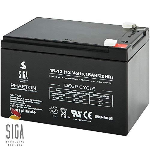 Blei Akku 15Ah 12V AGM Batterie ersetzt 10Ah 12Ah 14Ah 12V Elektro Fahrrad E-Bike Rollstuhl Scooter Pedelec (Sea Doo Batterie)