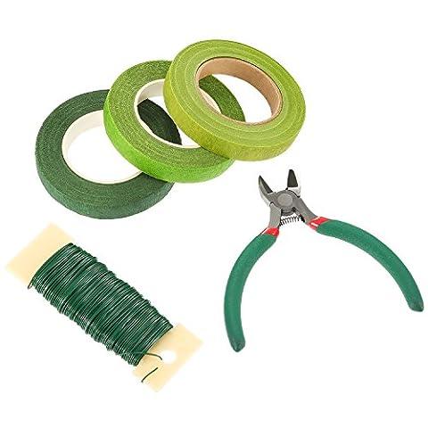 Pangda Floral Arrangement Tool Set Blumendraht Beinhaltet 22 Gauge Grüner Paddeldraht, 3 Roll Floral Stem Tape 1/ 2 Zoll von 30 Yards und ein Wire Cutter