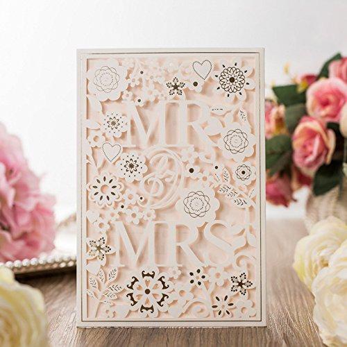 ponatia Lederpolster MR & MRS Laser geschnitten quadratisch Hochzeit Party Einladungen Karten-Set mit Spitze Blumen für Verlobung Hochzeit Party weiß