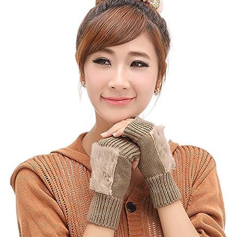 Le donne Winter Warmer solido colorato Faux pelliccia di coniglio maglia Trim mezze dita guanti tastiera perdita dito guanto 2Pcs , khaki