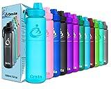 Grsta bottiglia acqua di sport - 700ml | a prova di perdite, senza BPA, BPS, ftalati | tritan plastica detox bottiglia| borraccia sportiva palestra per bambini, la corsa, fitness, yoga, all' aperto e camping, outdoor, gym, bottiglie d'acqua(Blu)