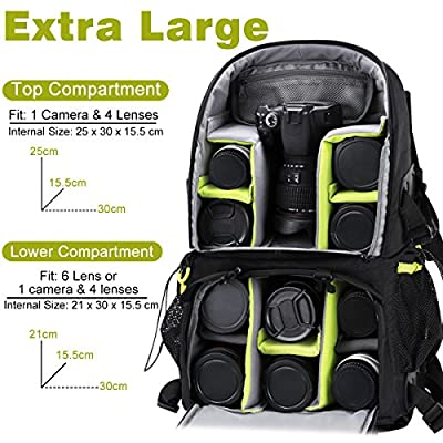 Endurax Extra Large Camera DSLR/SLR Backpack For Outdoor Hiking Trekking With 15.6 Laptop Compartment - camera-backpacks