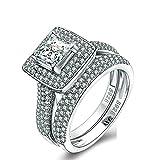 Aienid Hochzeit Band Verlobung Sterling Silber Ring für Frauen Platz CZ Silber 54 (17.2)