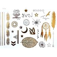 ღ Tatuaje temporal del tatuaje pegatinas Metal oro Flash Ys18 pegatinas etiqueta pulseras chapa joyería-del cuerpo