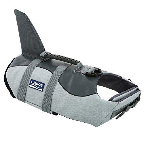 Queenmore Schwimmweste für große Hunde, mit weichem Gummigriff, Large, Grey Shark
