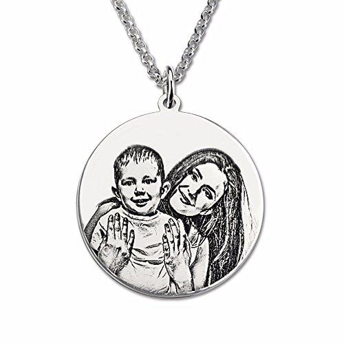 Bo&Pao Kette Damen Herren Halskette mit Fotogravur und Textgravur 925 Sterling Silber,personalisierte Foto Anhänger