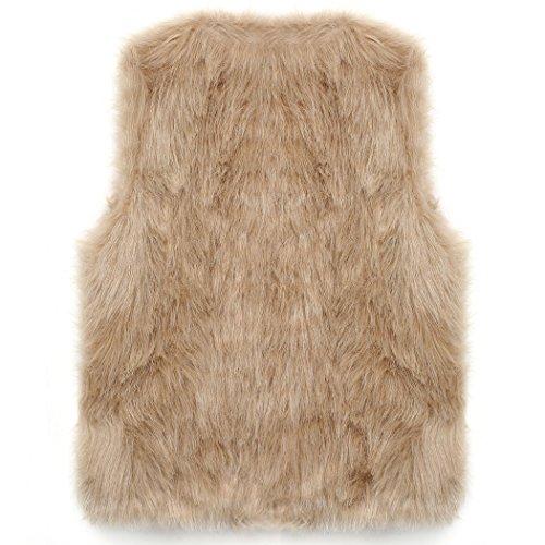 CRAVOG 2016 Mode Femme Gilet Dhiver en Fourrure Fausse Chaud Parka Manteau Sans Manche Pardessus veste Outwear #4 Camel