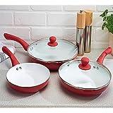 Sherwood housewares 5 Piece Ceramic Coated Non-Stick Cookware Saucepan Frying Pan Kitchen Set Red