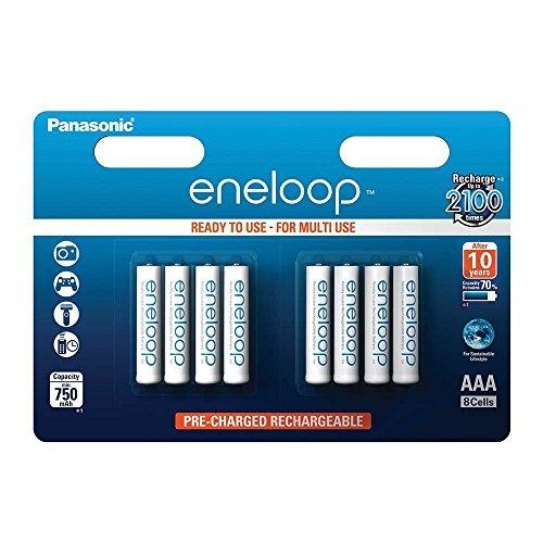 Panasonic eneloop, Ready-to-Use Ni-MH Akku, AAA Micro, 8er Pack, min. 750 mAh, 2100 Ladezyklen, geringe Selbstentladung Panasonic Akku 6