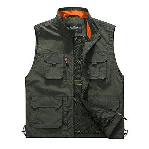 Uomo gilet senza maniche militari outdoor multi-tasca di pesca-giacca senza maniche per fotografia esercito verde xl