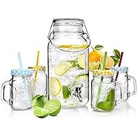 Bluespoon Vintage Getränkespender Set inkl. Zapfhahn, Trinkgläser mit Henkel, Deckel und Strohhalm in bunten Farben | Getränkespender mit 3,7 Liter Volumen und Gummiring | perfektes Retro Set