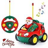 SGILE Ferngesteuertes Auto für Kleinkinder RC Fahrzeug Polizeiwagen Spielzeug mit Sound und Licht Pädagogisches Spielzeugauto Jungen Mädchen Kinder im Weihnachtsstil