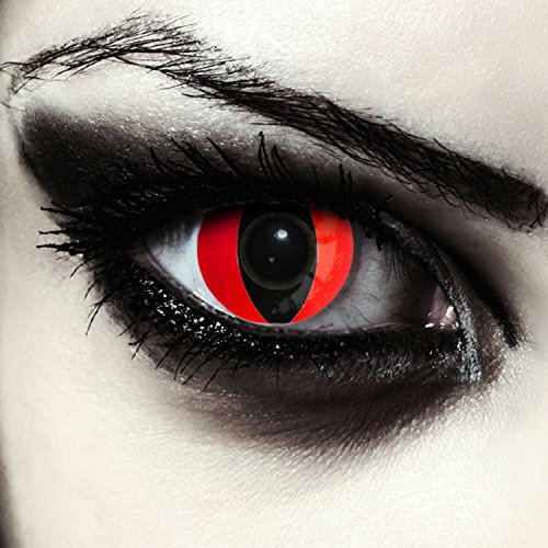 "Lentillas de colores rojas para Halloween costume ojo de gato / dragón lentes de tres meses sin dioprtías / corregir + gratis caso de lente ""Red Cat eye"""