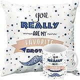 Printelligent Rakhi Gift For Sister. Rakshabandhan Themed Combo Of Ceramic Coffee Mug & Cushion Cover With Filler Gift