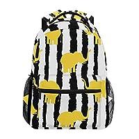 Funnyy Yellow Elephant Pattern Zebra Print Backpack Travel School Shoulder Bag Bookbag Daypack for Kids Girls Boys Men Women