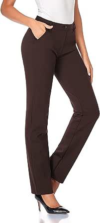 TAPATA Donna 76cm Pantaloni Bootcut Elasticizzati con Tasche, Tall/Regolare/Pettie per Ufficio Affari Casual Marrone S