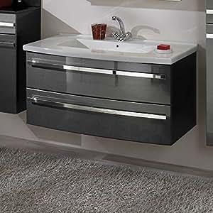 hochglanz waschtisch in anthrazit schubladen waschbecken im lieferumfang enthalten mit einlass. Black Bedroom Furniture Sets. Home Design Ideas