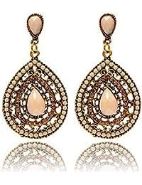 Damen Schmuck DAY.LIN Frauen Vintage Böhmen Tropfen Ohrring Harz Perlen  Herz Vintage Ohrringe c9d8ece493