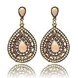Damen Schmuck DAY.LIN Frauen Vintage Böhmen Tropfen Ohrring Harz Perlen Herz Vintage Ohrringe (Weiß)