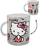 alles-meine.de GmbH Glas Henkeltasse -  Katze - Hello Kitty  - incl. Name - 340 ml - Teetasse / Glastasse - Saftglas - Trinktasse mit Henkel - Tasse Becher - Porzellantasse - T..